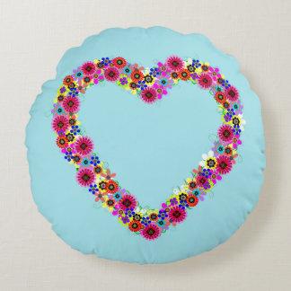 Floral Heart Round Cushion