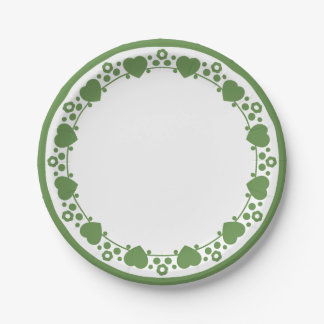 Floral Hearts Green & White Wedding Dot Love 7 Inch Paper Plate