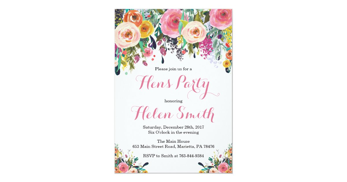 Floral Hens Party Invitation Card Watercolor | Zazzle.co.nz