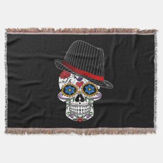 Floral Horror Skull Throw Blanket
