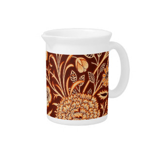 Floral in Fiery Red and Orange Drink Pitcher
