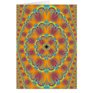 Floral in Green and Orange Card