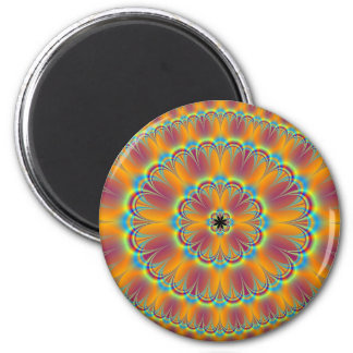 Floral in Green and Orange Magnet