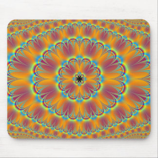 Floral in Green and Orange Mousepad