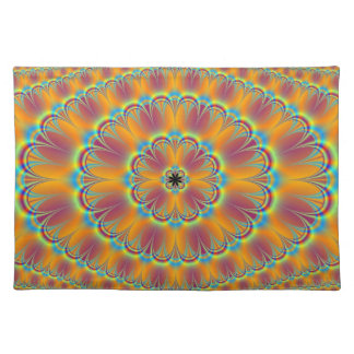 Floral in Green and Orange Placemats Cloth Placemat