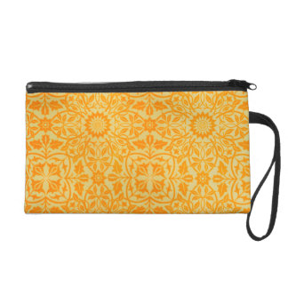 Floral in Orange and Gold Wristlet Purse
