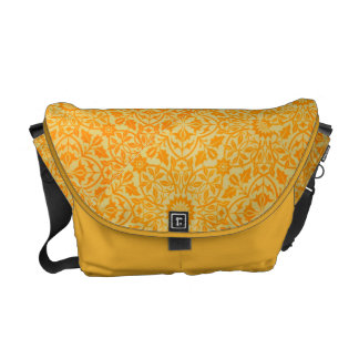 Floral in Orange and Gold Courier Bag
