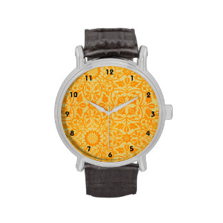 Floral in Orange and Gold Wrist Watch