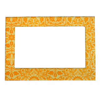 Floral in Orange and Gold Picture Frame Magnet