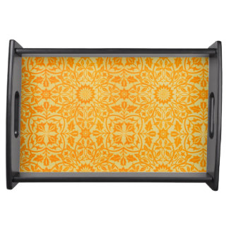 Floral in Orange and Gold Service Trays