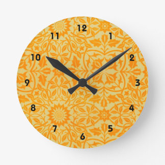 Floral in Orange and Gold Round Clock
