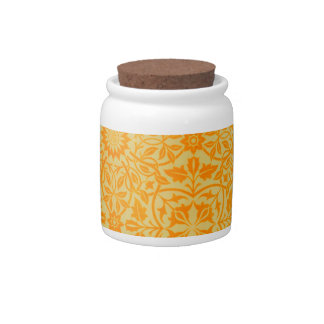 Floral in Orange and Gold Candy Jar