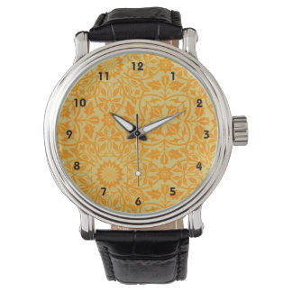Floral in Orange and Gold Watch