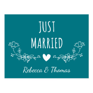 Floral Just Married Blue Turquoise Wedding Postcard