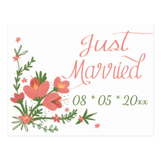 Floral Just Married Pink And Green Flowers Wedding Postcard