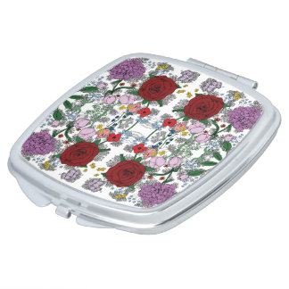 Floral Kaleidoscope Compact Mirror