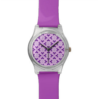 Floral kimono print, amethyst and orchid pink watch
