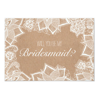 Floral lace rustic kraft Will you be my Bridesmaid Card