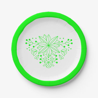 Floral Lime Green & White Flowers Wedding Party 7 Inch Paper Plate