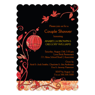 Floral Love Birds Black Red Wedding Couples Shower 5x7 Paper Invitation Card