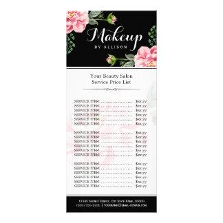 Floral Makeup Artist Beauty Salon Girly Price List Customized Rack Card