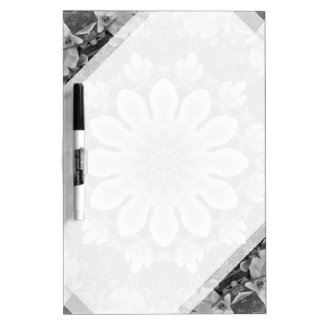 Floral mandala-style, Blossoms black, white, gray Dry Erase Board