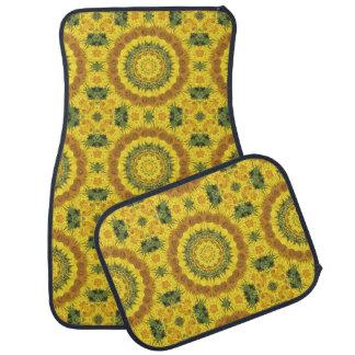 Floral mandala-style, Sunflowers Car Mat