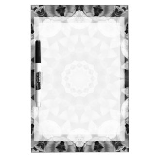 Floral mandala-style, Tulips Black, white and gray Dry Erase Board
