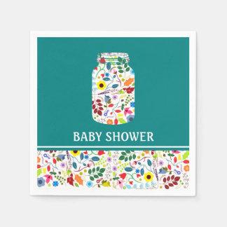 Floral Mason Jar Baby Shower Disposable Napkin