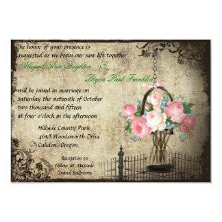 "Floral Mason Jar Vintage Wedding Invitation 5"" X 7"" Invitation Card"
