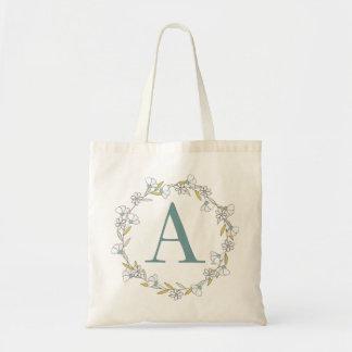Floral Monogram Tote Bag