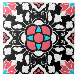 Floral Moroccan Tile, Black, White and Coral Pink Large Square Tile