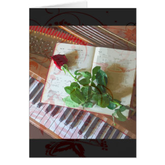 Floral Music Book Rose On Piano Card
