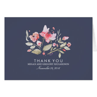 Floral Navy and Pink Watercolor Wedding Thank You Note Card