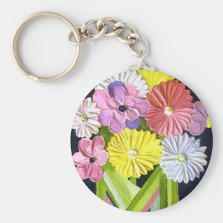 Floral Oil Painting #1 Basic Round Button Key Ring