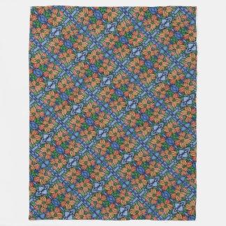 Floral Orange And Blue Pattern Fleece Blanket