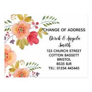 floral orange Change of address, new address Postcard