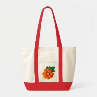 Floral orange impulse tote bag
