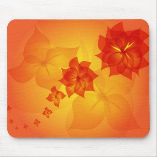 floral ornament orange sun mousepads