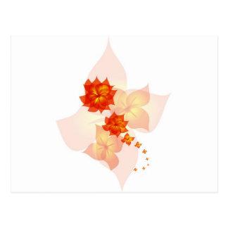 floral ornament orange sun post cards