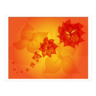 floral ornament orange sun post card