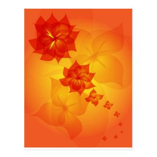 floral ornament orange sun postcards