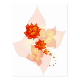 floral ornament orange sun postcard