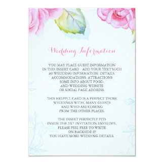 floral painted wedding information insert card