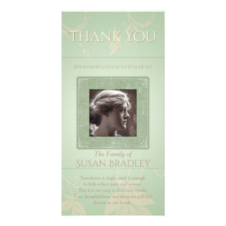 Floral Pale Green Template Sympathy Thank You P Customised Photo Card