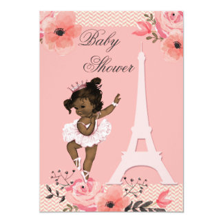 Floral Paris Eiffel Tower Ethnic Ballerina Shower 13 Cm X 18 Cm Invitation Card