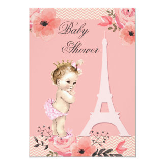 Floral Paris Eiffel Tower Princess Baby Shower 13 Cm X 18 Cm Invitation Card