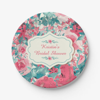 Floral Party Plates, Bridal Shower Paper Plate