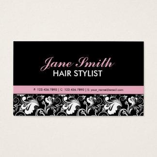 Floral Pattern Elegant Stylist Salon Hairdresser Business Card