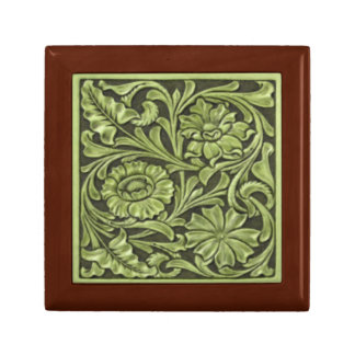 Floral Pattern in Green Gift Box